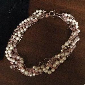 J. Crew rose gold tone pearl necklace romance
